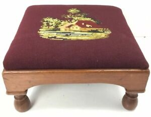 Antique Wooden Needlepoint Footstool Vintage Wooden Ottoman Foot Stool