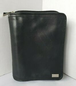 Franklin Covey Pocket Unstructured Black Nappa Leather Removable Binder Zip 1