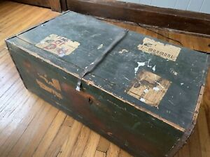Antique Travel Trunk From Italy To Ny 1950s Orignal Labels