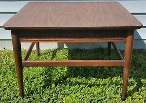 Vintage Mid Century Danish Modern Wood Wicker Trim Coffee End Table