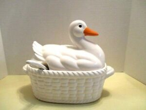 White Ceramic Duck Basket Soup Tureen With Ladle By Action Co