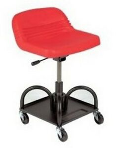 Mechanic Creeper Seat Heavy Duty Padded High Back Rolling Chair Garage Shop Red
