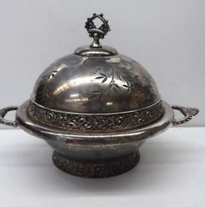Meridian Embossed Decorative Silver Plate Dome Top Butter Dish Glass Liner Dish