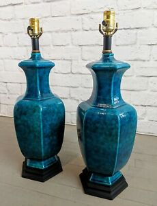 Bitossi Style Mid Century Glazed Pottery Lamps