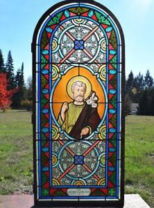 Antique French Stained Glass Panel W Leaded Glass Joseph Religious