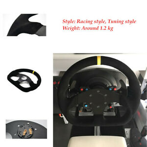 320mm Auto Racing Flat Yellow Suede Leather Aluminum Frame Drift Steering Wheel