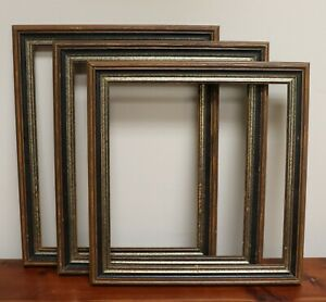 Lot Of 3 Vintage Solid Wood Picture Frames Must See 14 X15 14 X16 14 X17