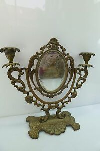 Dressing Room Antique Table Top Adjustable Mirror Candle Stick Holders