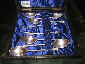 Antique Sterling Silver Tea Spoon Set W Sugar Tongs Case Scottish 1850 1899