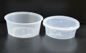 Round Food Containers Plastic Clear Storage Tubs With Lids Deli Pots 8oz 12oz
