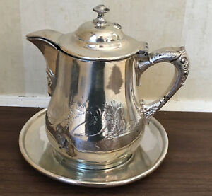 Victorian Aesthetic Poole Silver Plate Quadruple Plate Syrup Pitcher With Tray