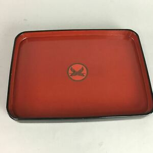 Japanese Lacquer Ware Tray Wood Red Black Obon Family Crest Vtg Nurimono Ur14