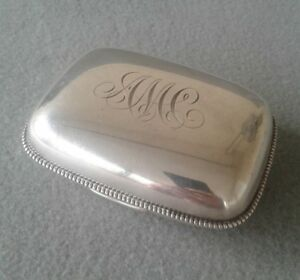 Antique 1902 Gorham Chased Sterling Silver Beaded Edge Soap Box