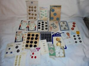 Antique Vintage Buttons On Cards Large Lot Celluloid Plastic Metal Shank