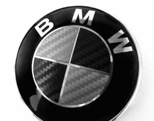 Bmw Black Silver Carbon Fiber Emblem Sticker Overlay Complete Set Decal