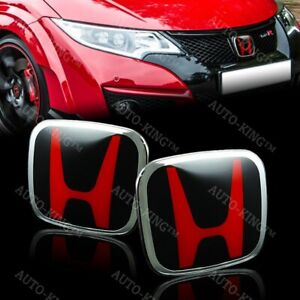 Red Black Jdm H Emblem 2 Pcs Set Front Rear For 2008 2014 Accord Coupe 2dr