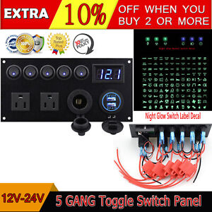 5 Gang Led On off Toggle Switches Panel Interior Controls Usb Car Boat Marine Rv