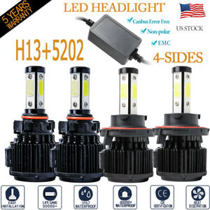 4side H13 Led Headligh Kit 5202 Fog Light Bulb 240w 64000lm Canbus Error Free