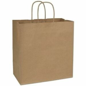 250 Recycled Kraft Gift Merchandise Paper Bags Shoppers Escort 13 X 7 X 13