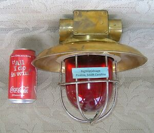 Authentic Brass Steamership Nautical Ceiling Light W Brass Deflector Cover