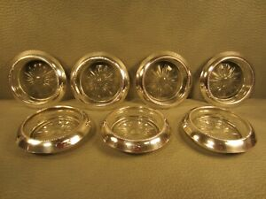 Set Of 7 Vintage Frank Whiting Sterling Silver Crystal Coasters