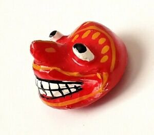 Painted Paper Mache Demon Mask Button From Sri Lanka