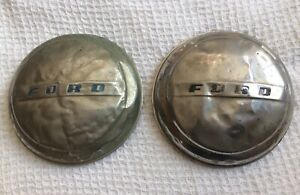 Pair Of 2 Vintage Ford Dog Dish Style Hubcaps