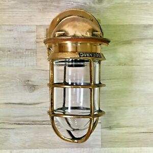 Large Vintage Oceanic Cast Brass Sconce Light