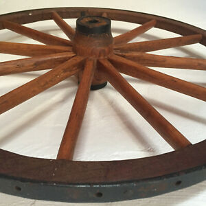 Antique Wagon Carriage Wheel Wood Metal Wrap Primitive 24 Vtg Buggy Usa Mint