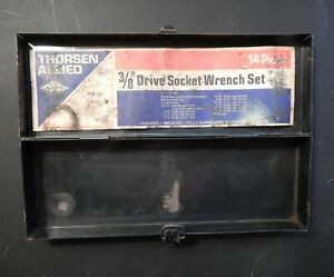 Vintage Thorsen Allied Small Empty Metal Case Tool Box For 3 8 Drive Socket Set