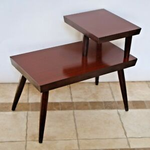 Atomic Era Mid Century Modern Brass Mahogany End Table Two Tier Laminate Step