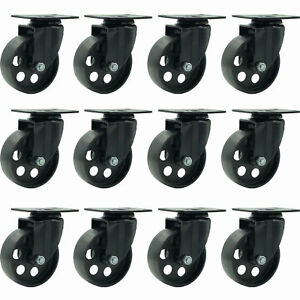 12 All Black Metal Swivel Plate Caster Wheels Heavy Duty 3 5 No Brake