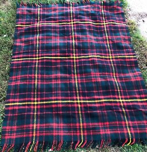 Vintage Abercrombie Finch Wool Blanket Made In Scotland