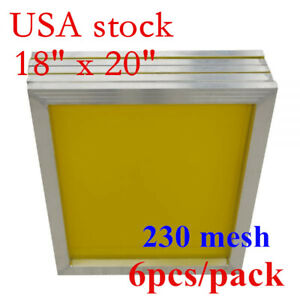 6pcs 18 X 20 Aluminum Frame Silk Screen Printing Screens 230 Yellow Mesh Usa