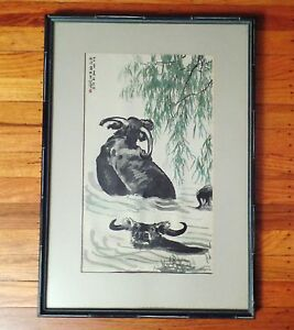 Vintage Black Yak Framed Silk Embroidery Artwork Under Glass With Bamboo Frame