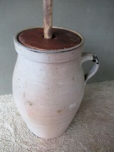 Antique Butter Churn Stoneware 4 Gal Lid Dasher Tobacco Spit Decorated Handle