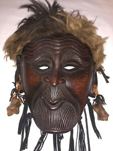 Amazing Antique Japanese Carved Wood Mask Kyogen Noh Theater Old Man