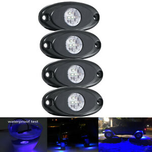 4x Cree Led Rock Lights Blue For Off Road Under Body Glow Lamp Jeep Trail Truck