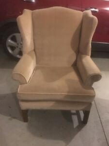 Vintage Mid Century Wingback Tan Velvet Accent Upholstered Chair Furniture Wood