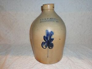 Antique Cobalt Blue Sprig Decorated Stoneware Pottery Storage Jug Jar Vermont J