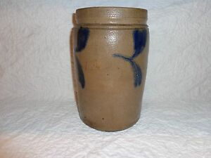 Antique Cobalt Blue Decorated Stoneware Pottery Table Pantry Crock Marked Phila
