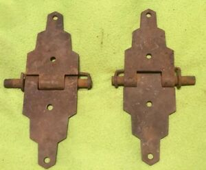 Vintage Hinges 2 Piece Set Cast Iron Box Barn Stable 8 Inch