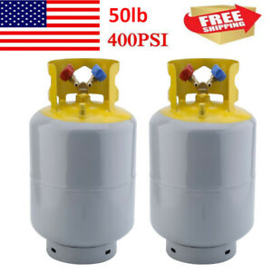 2x Portable 50lb Refrigerant Recovery Cylinder Tank 400 Psi Steel Reusable Ak