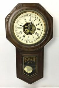 Large Vintage Wall Regulator Calendar Clock Macgil Parts Or Repair 32 X 18