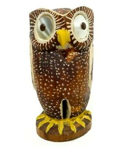 Modernist Hand Carved Painted Wooden Owl Figure W Mother Of Pearl Button Eyes