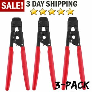 3x Insulated Terminals Ferrules Crimping Plier Wire Ratcheting Crimper Set My