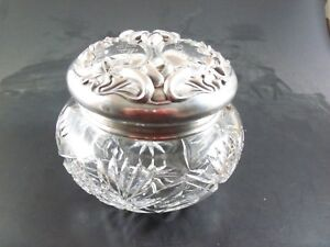 4 5 William Kerr Sterling Silver And Abp Cut Glass Dresser Powder Vanity Jar