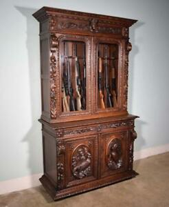 French Antique Hunting Style Black Forest Gun Display Case Oak Cabinet