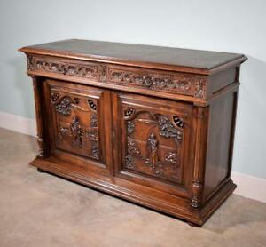 Antique French Breton Brittany Sideboard Buffet Server In Solid Chestnut