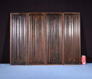 Set Of Four Antique Gothic Revival Solid Oak Wood Panels W Linen Fold Carvings